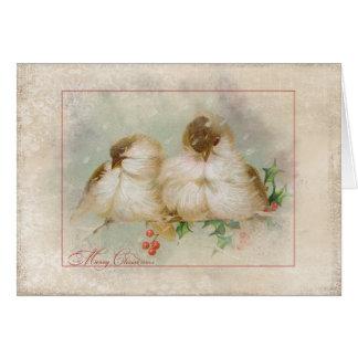 Weihnachtswinter Chickadees mit Stechpalme Karte