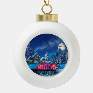 Weihnachtswinter-Dorf-Ball-Verzierung Keramik Kugel-Ornament