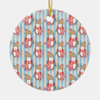 Weihnachtswinter-Pinguin Keramik Ornament