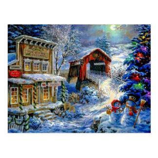 Weihnachtswinter-Schneemann-Szene Postkarte