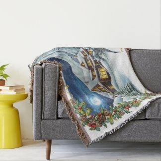 Weihnachtswinter-Szene gesponnene Wurfs-Decke Decke