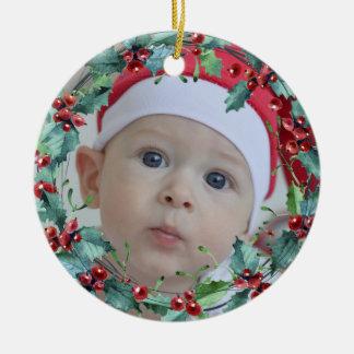 Weihnachtswreath-Gewohnheits-Foto Keramik Ornament