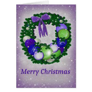 WeihnachtsWreath in Lila und in Grünem Grußkarte