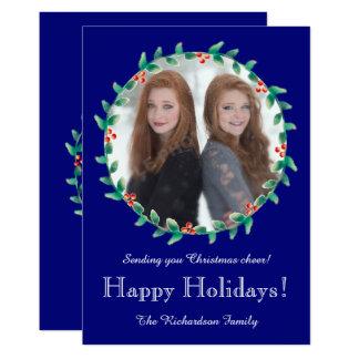 Weihnachtswreath-königliches Blau-Foto-Karte 12,7 X 17,8 Cm Einladungskarte