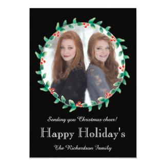 Weihnachtswreath-Schwarz-Foto-Karte 12,7 X 17,8 Cm Einladungskarte