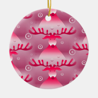 Weihnachtswunderliches rosa Ren-Muster Keramik Ornament