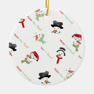 Weihnachtswunderliches Schneemann-Muster Keramik Ornament