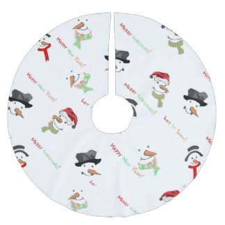 Weihnachtswunderliches Schneemann-Muster Polyester Weihnachtsbaumdecke