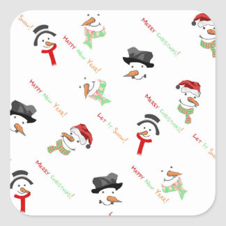 Weihnachtswunderliches Schneemann-Muster Quadratischer Aufkleber