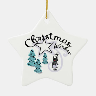 Weihnachtswünsche Scandi Mädchen-Sternverzierung Keramik Ornament