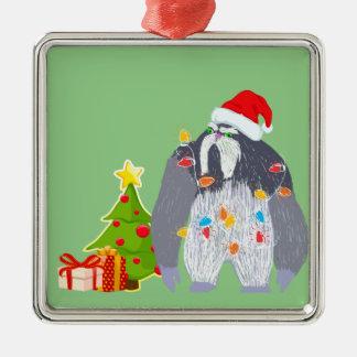 Weihnachtsyeti-Verzierung Silbernes Ornament