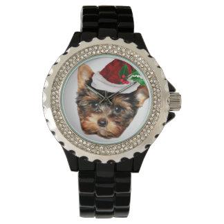 Weihnachtsyorkshire-Terrier-diamante de Armbanduhr