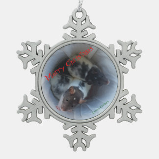 Weihnachtszinn-Verzierung mit Baby-Ratten Schneeflocken Zinn-Ornament