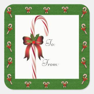 Weihnachtszuckerstange zu/von Geschenk-Aufkleber Quadratischer Aufkleber