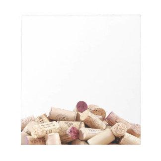 Wein bekorkt Notizblock