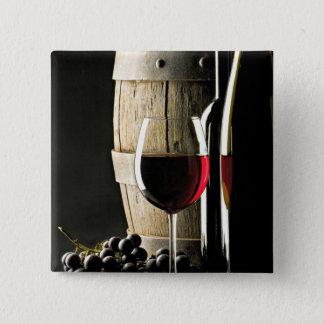 Wein-Fass, Trauben und Glas Quadratischer Button 5,1 Cm