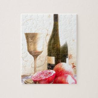 Wein-Flasche und Granatäpfel Puzzle