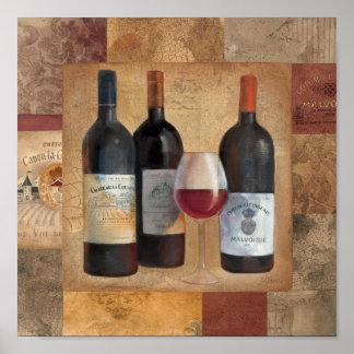 Wein-Flaschen mit Glas Poster