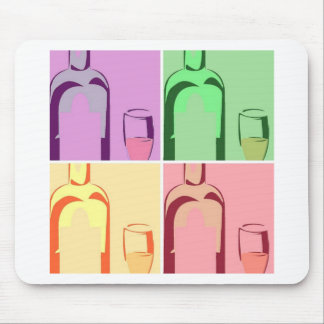 Wein-Flaschen-und Glas-Pop-Kunst Mauspad