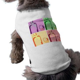 Wein-Flaschen-und Glas-Pop-Kunst T-Shirt