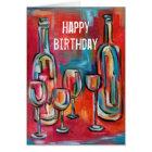Wein-Flaschenglas-Geburtstags-rotes blaues tolles Karte