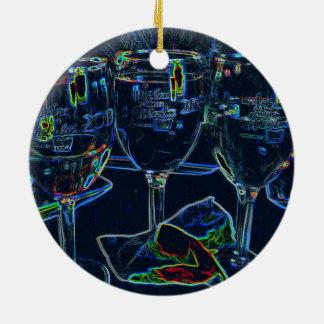 Wein-Gläser, die Mädchen-Nachtverzierung trinken Keramik Ornament