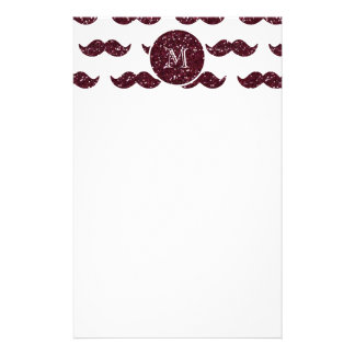 Wein-Glitter-Schnurrbart-Muster Ihr Monogramm Individuelles Druckpapier