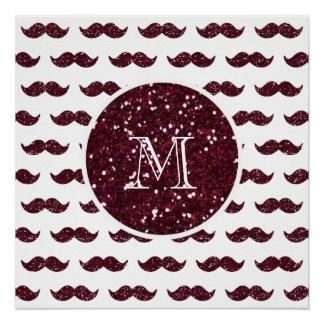 Wein-Glitzer-Schnurrbart-Muster Ihr Monogramm Poster