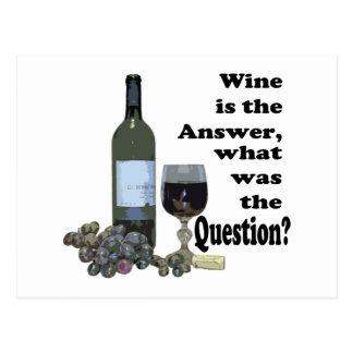 Wein ist die Antwort, was war die Frage?  Geschenk Postkarte