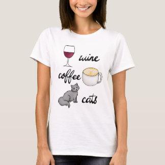 Wein-Kaffee-Katzen-T - Shirt
