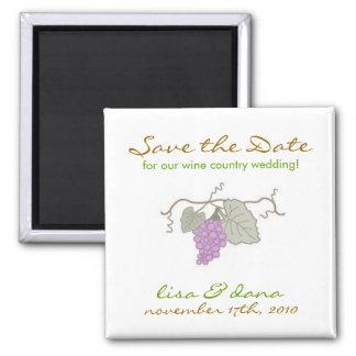 Wein-Land-Hochzeits-Weinrebe Quadratischer Magnet