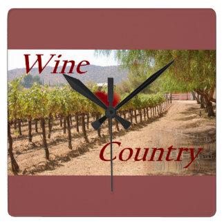 Wein-Land Quadratische Wanduhr
