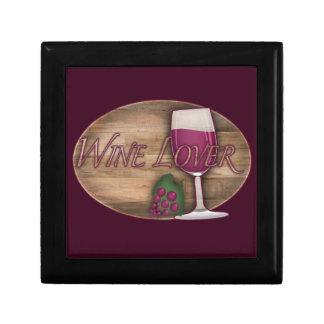 Wein-Liebhaber auf hölzernem Oval Schmuckschachtel