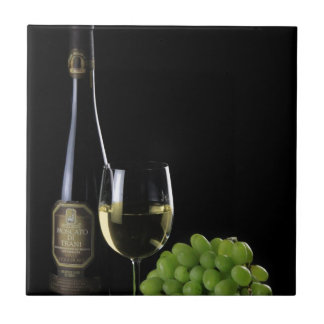 Wein-Liebhaber-Weiß-Wein-Flaschenglas-Trauben Keramikfliese