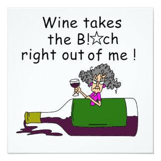 Wein mildert mich quadratische 13,3 cm einladungskarte