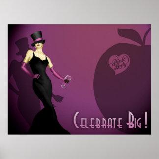 Wein-rosa Dame Plakat