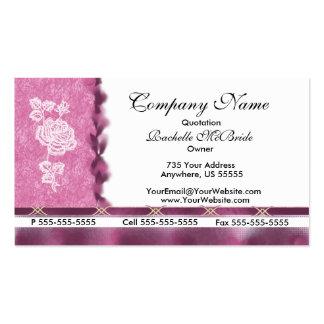 Wein-rosa weiße Stickerei-Rosen-Geschäfts-Karten Visitenkartenvorlagen