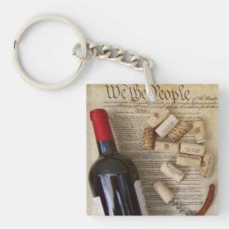 Wein u. Konstitution doppelseitiges Keychain! Schlüsselanhänger