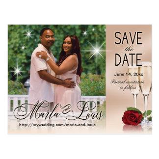 Wein u. Rosen-Foto erröten Save the Date Rosa Postkarte