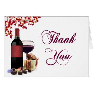 Wein u. Schokolade danken Ihnen zu kardieren Karte