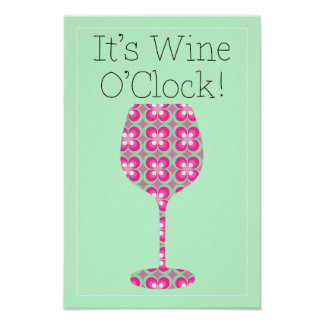 Wein-Uhr! Humorvolles Modmusterplakat Poster