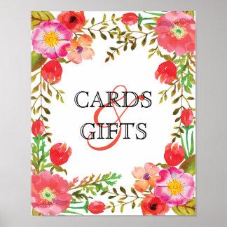 Wein-und Blumen-Hochzeits-Karten-und Poster