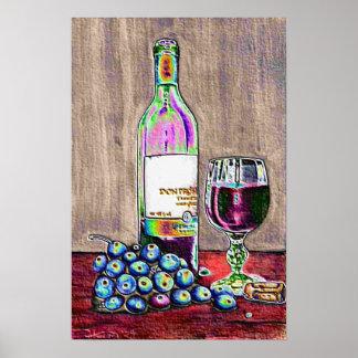 Wein-und Trauben Stillleben im Druck Poster