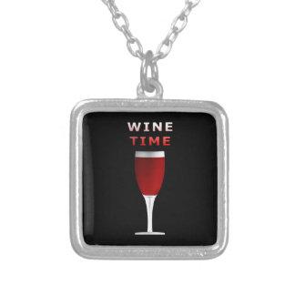Wein-Zeit-Quadrat-Anhänger-Halskette Versilberte Kette