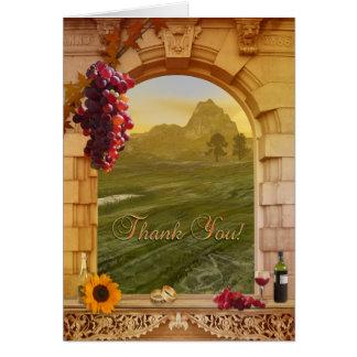 Weinberg-Hochzeit im Herbst danken Ihnen zu Grußkarte
