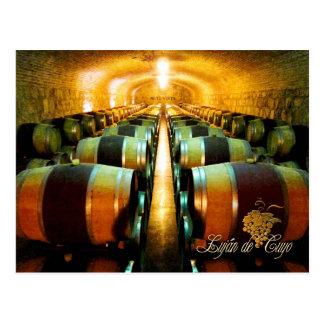 Weinfässer im Keller, Lujan de Cuyo, Argentinien Postkarte