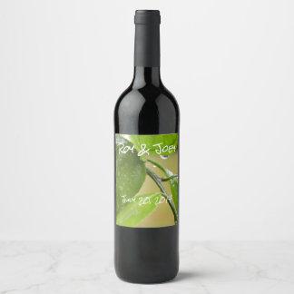 Weinflaschenaufkleber des Frühlingsregens grüne Weinetikett