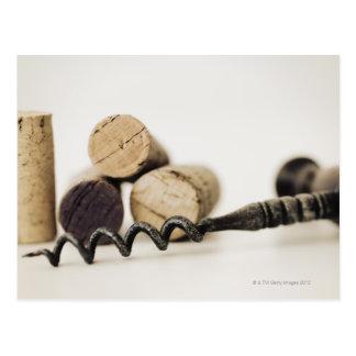 Weinkorken mit Korkenzieher Postkarte