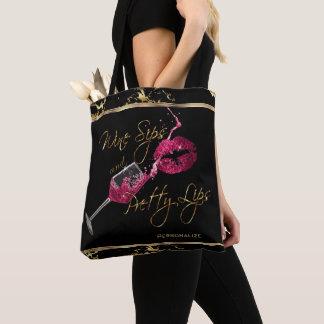 WeinSips und hübsche rosa Lippen - Marmor Tasche