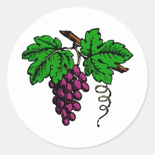weintrauben rebe grapes vine runder aufkleber